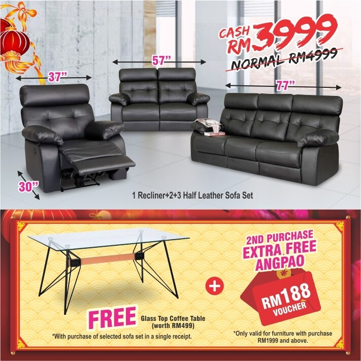 [FREE GIFT + ANGPAO] 1 Recliner + 2 + 3 Half Leather Sofa Set
