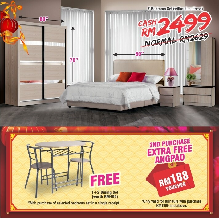 [FREE GIFT + ANGPAO] 5ft Bedroom Set (5ft x 6ft Sliding Wardrobe + Queen size Bed frame + Dressing Table + Side table)