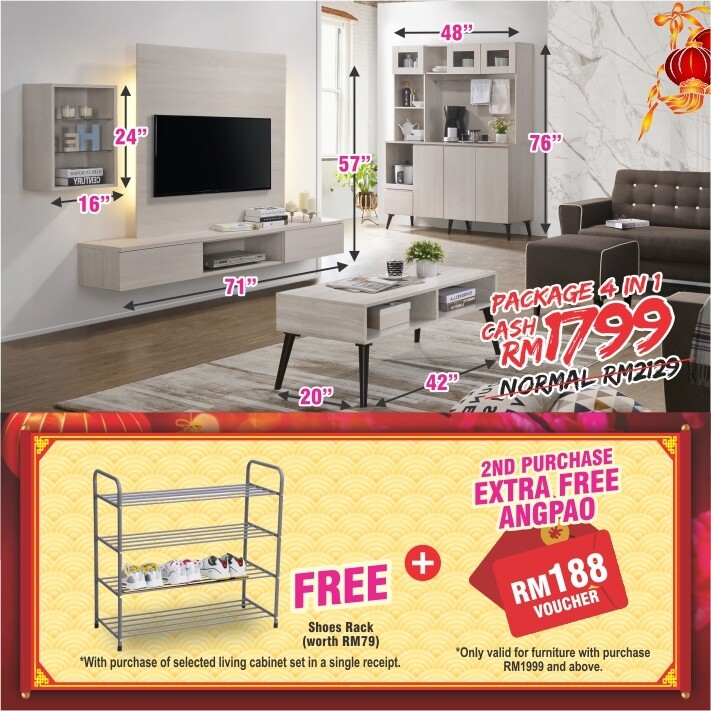 [FREE GIFT + ANGPAO] PACKAGE 3 IN 1 (Wall Mounted TV Cabinet + Coffee Table + High Kitchen Cabinet)