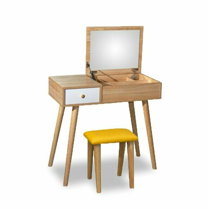 Dressing Table with Foldable Mirror and Stool