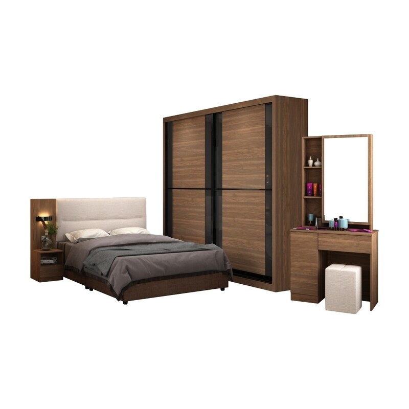 Bedroom Set (8 ft x 8 ft Sliding Wardrobe + Queen size Bed frame + Dressing Table + Stool)