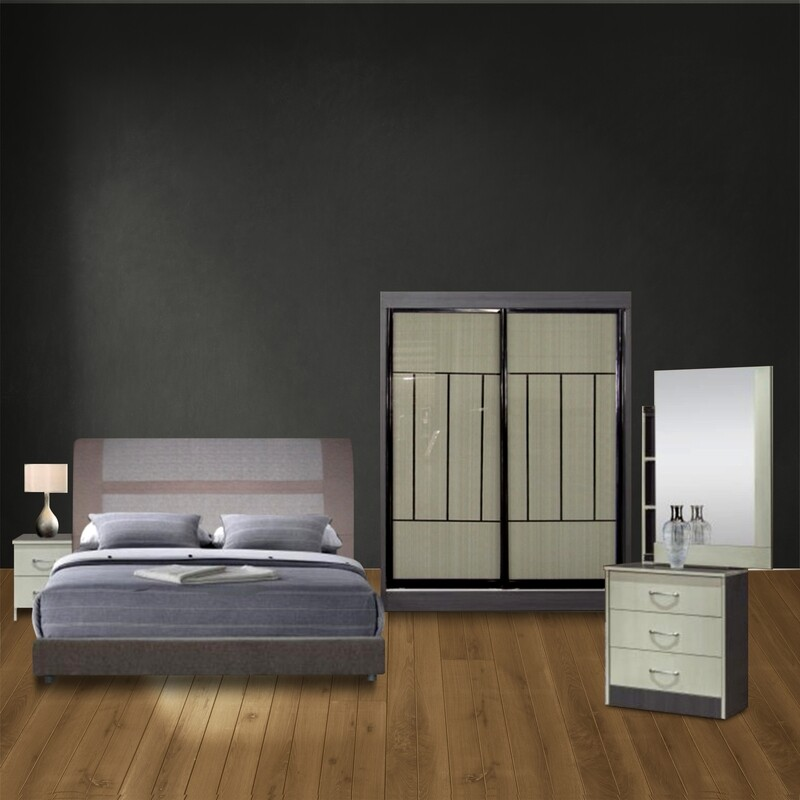 Bedroom Set (5ft x 6ft Sliding Wardrobe + Queen size Bed frame + Dressing Table)