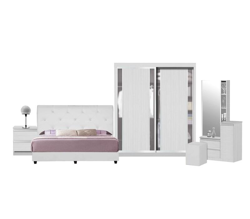 Bedroom Set (4ft Sliding Wardrobe + Queen size Bed frame + Dressing Table)
