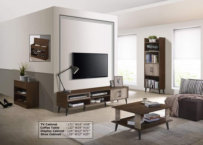 Living Package (6ft TV Cabinet + Coffee Table + Display Cabinet + Shoe Cabinet)