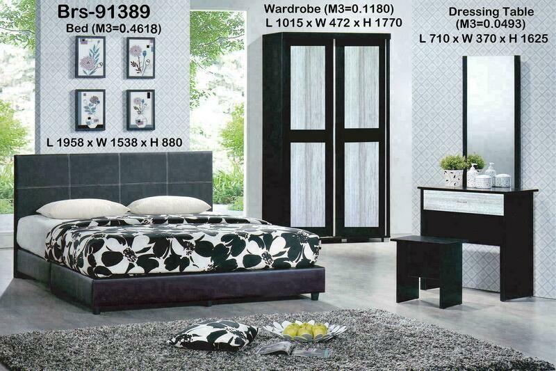 Bedroom Set (3.5ft Sliding Wardrobe + Queen size Bed frame + Dressing Table + Stool)
