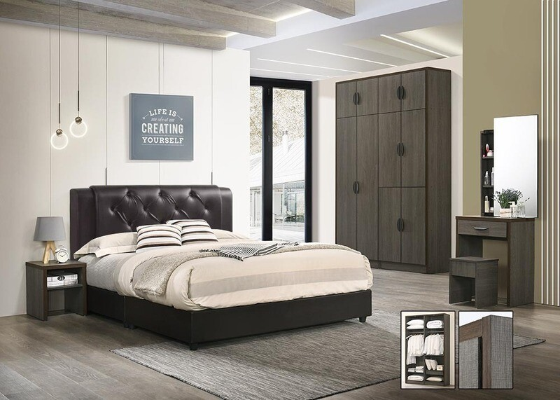 Bedroom Set (Wardrobe + Queen size Bed frame + Dressing Table + Stool + Side Table)