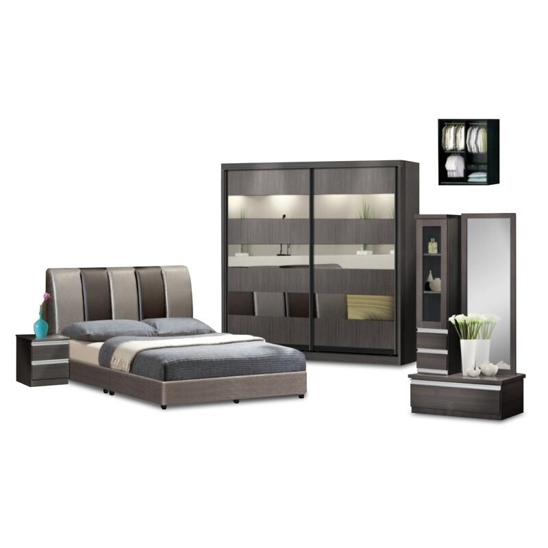 Bedroom Set (Queen size Bed frame + 5ft x 80inch Black Glass Sliding Wardrobe +Dressing Table + Side Table)