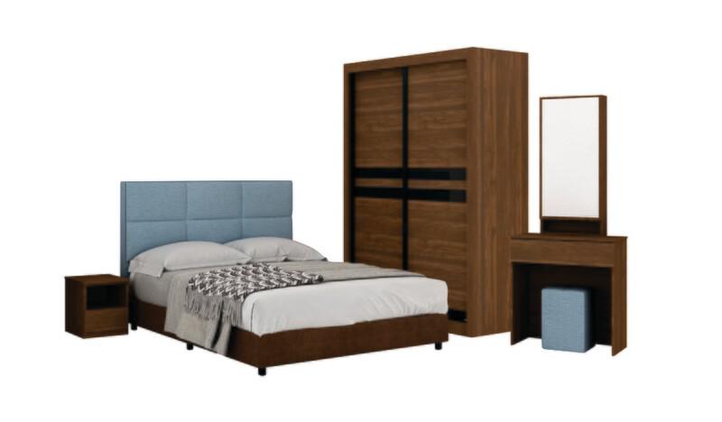 Bedroom Set (4 ft Sliding Wardrobe + Queen size Bed frame + Dressing Table + Stool)