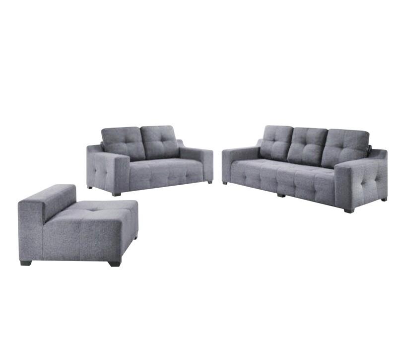 2+3 Seater +Stool Sofa Set (Grey)