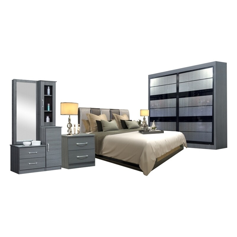 Bedroom Set (Queen size Bed frame + 5ft x 80inch Sliding Wardrobe +Dressing Table + Side Table)