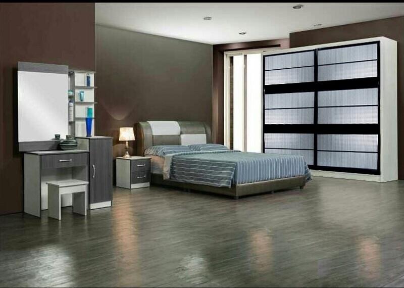 Bedroom Set (Queen size Bed frame + 8ft x 8ft Sliding Wardrobe +Dressing Table + Side Table)