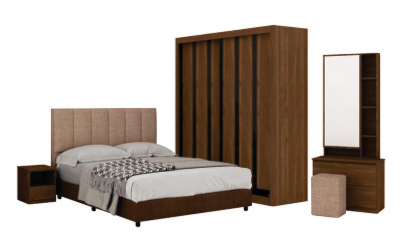 Bedroom Set (5 ft Sliding Wardrobe + Queen size Bed frame + Dressing Table + Stool)