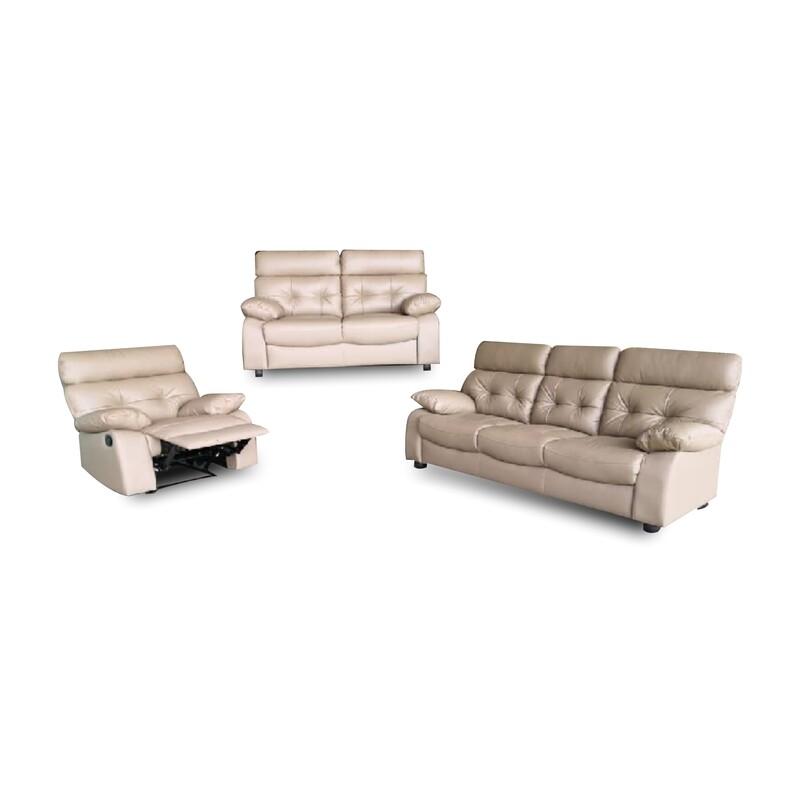 1 Recliner + 2+3 Seater Half Leather Sofa Set
