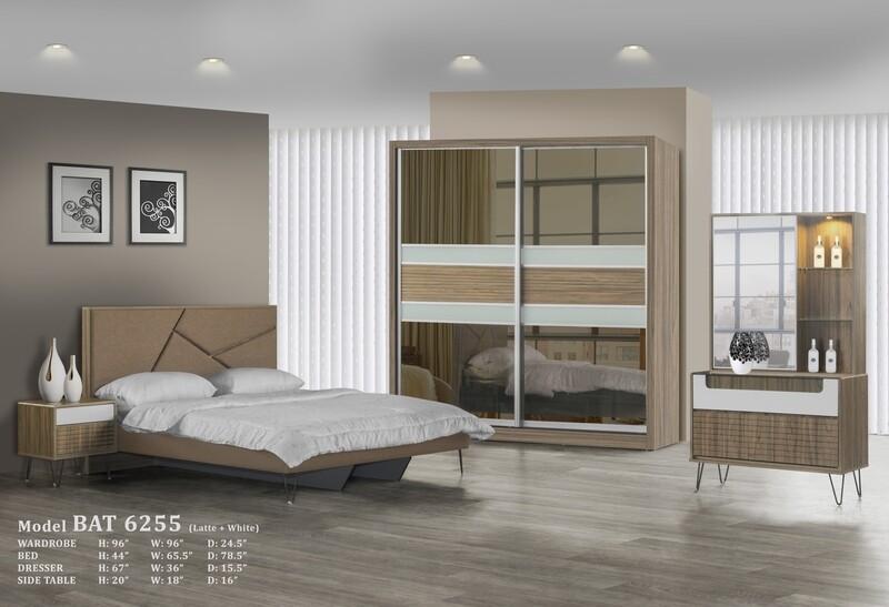 Bedroom Set (8ft Wardrobe + King size divan + Dressing Table + Side Table)