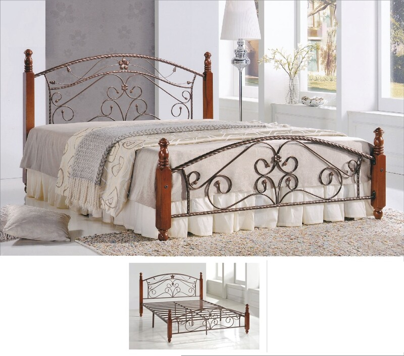5ft Size Metal and Wooden Bed Frame - Queen Size
