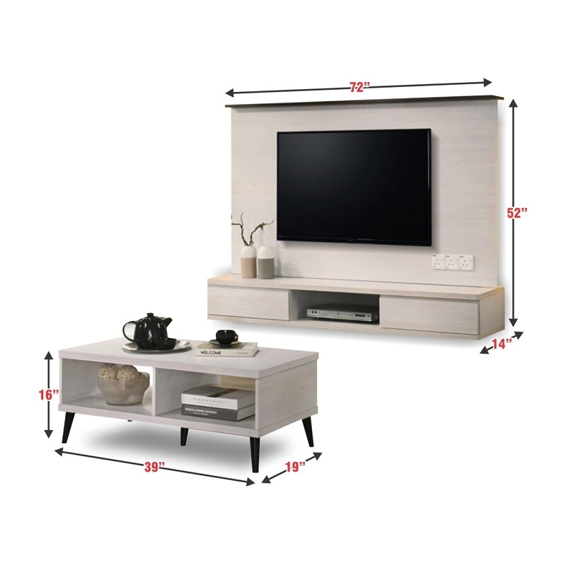 PACKAGE 2 IN 1 (Wall Mounted TV Cabinet + Coffee Table)