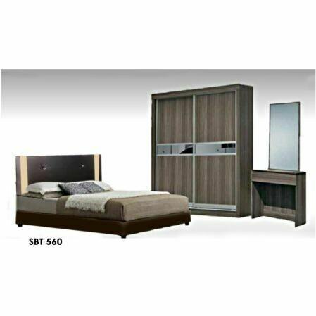 Bedroom Set (Queen size Bed frame + 3.5ft Sliding Wardrobe + Dressing Table + Side Table)