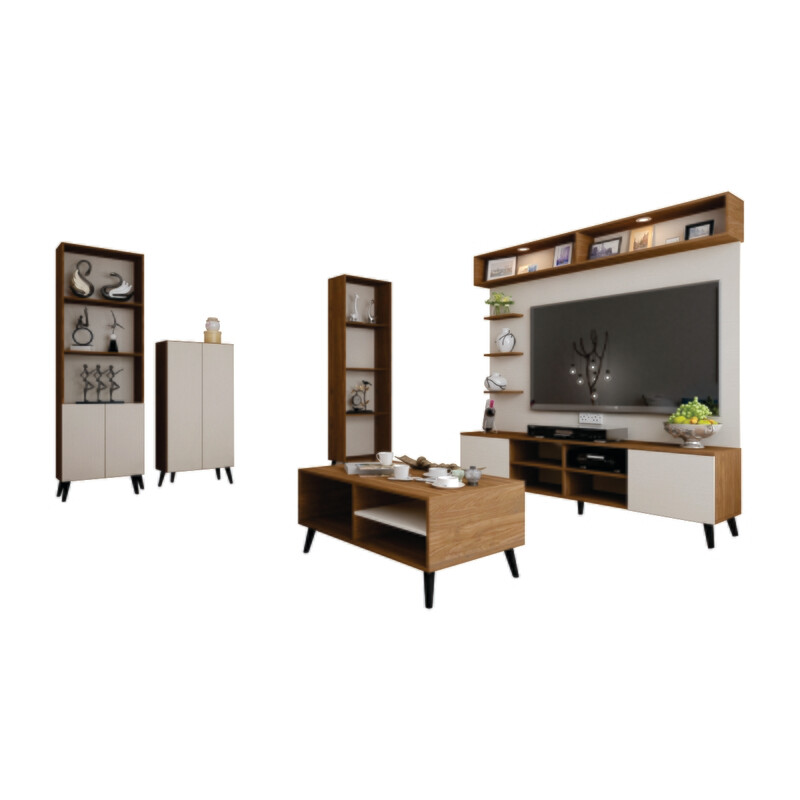 Living Package (6ft High TV Cabinet + Coffee Table + Shoe Cabinet + 2 Display Cabinet)
