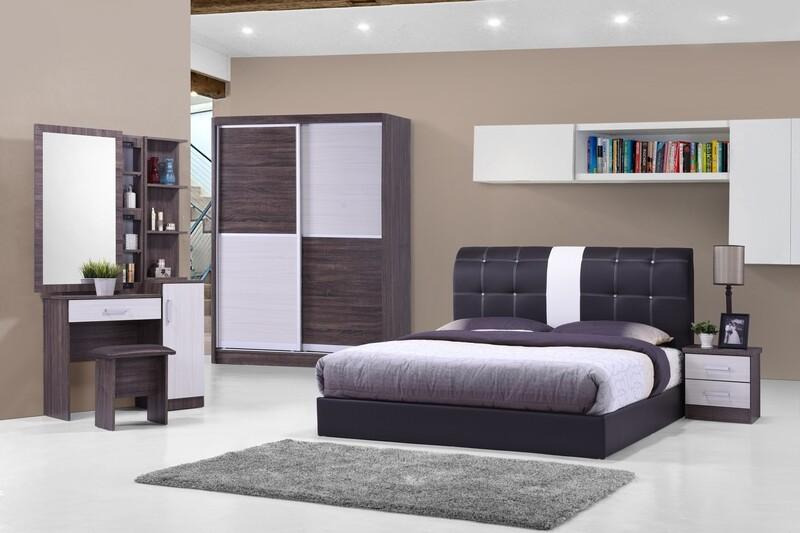 Bedroom Set (Queen Bedframe + 5ft x 80inch Wardrobe + Dressing Table +  Side Table)