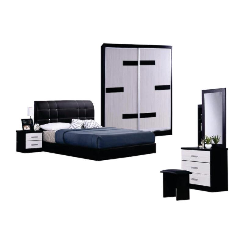 Bedroom Set (Queen Bedframe + 5ft Sliding Door Wardrobe + Dressing Table +  Side Table)