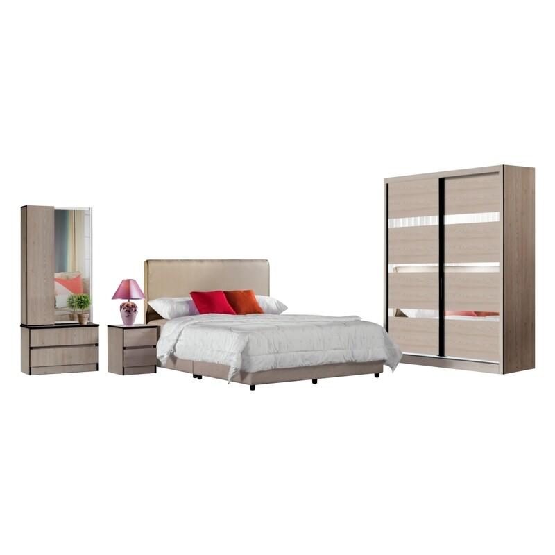 Bedrooom Set  (5ft Sliding Wardrobe + Queen size Bed frame + Dressing Table + Side table)