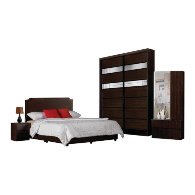 Bedroom Set  (5ft Sliding Wardrobe + Queen size Bed frame + Dressing Table + Side table)