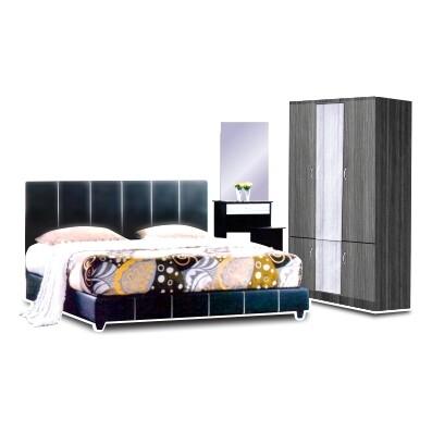 Bedroom Set (Queen Bedframe + 3.5ft Wardrobe + Dressing Table + Stool)