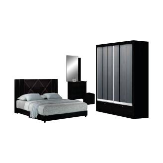 Bedroom Set (4ft Sliding Wardrobe + Queen size Bed frame + Dressing Table + Stool)