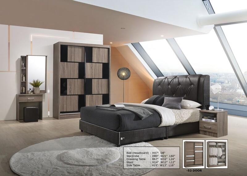 Bedroom Set (5ft Sliding Wardrobe + Dressing Table + Stool + Side Table)