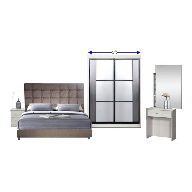 Bedroom Set (Queen size Bed frame + 5ft Sliding Wardrobe + Dressing Table + Side Table)