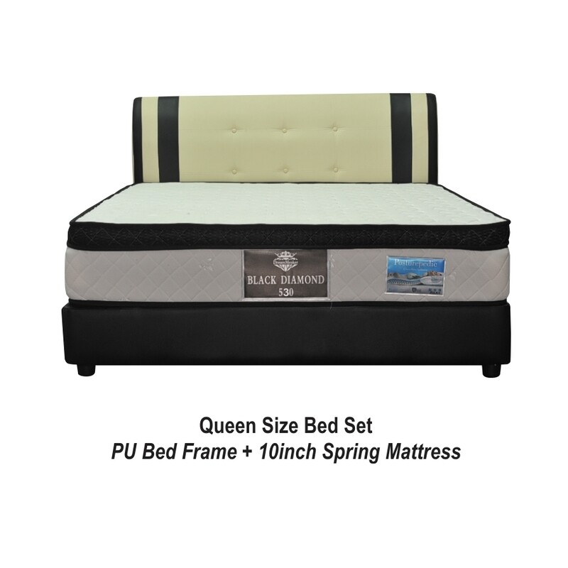 Full Bed Set (Nana Queen Size Bed Frame + 10inch  Queen Size Black Diamond Spring Mattress)
