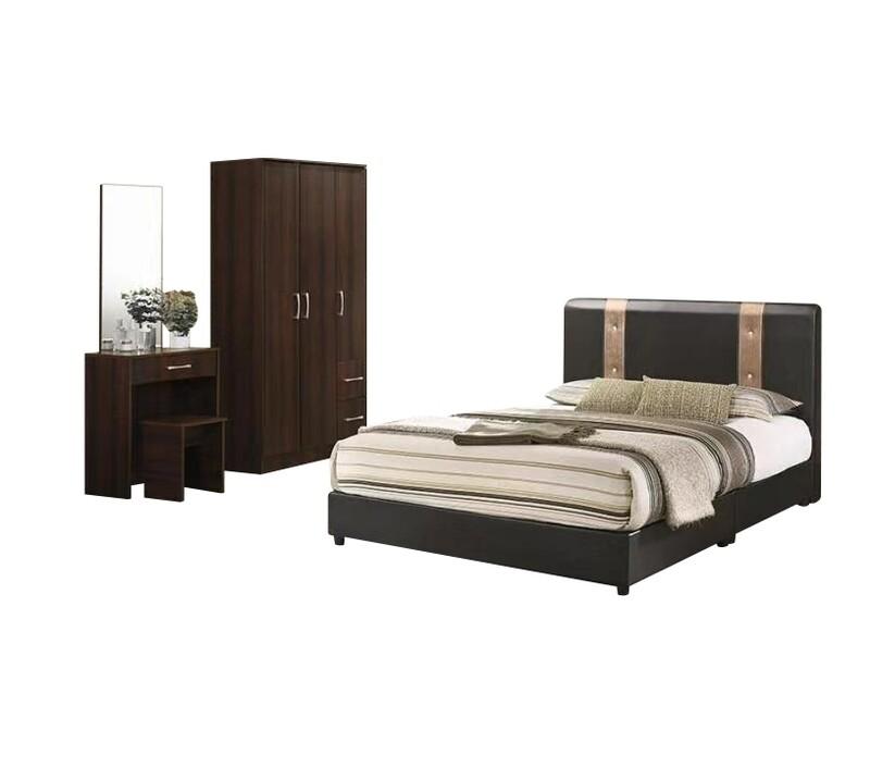 Bedroom Set (3 Doors Wardrobe + Queen size Bed frame + Dressing Table + Stool)