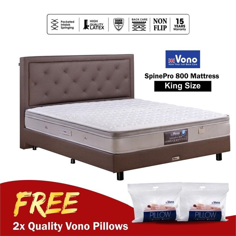 [FREE VONO PILLOWS] VONO   10 inch Mattress Spine Pro Collection (Spine Pro 800) - King