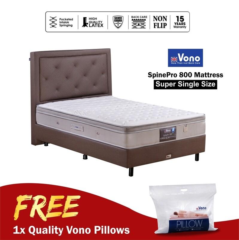[FREE VONO PILLOWS] VONO   10 inch Mattress Spine Pro Collection (Spine Pro 800) - Super Single