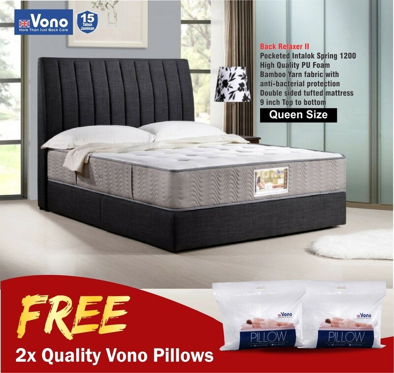 [FREE 2 VONO PILLOW] Vono 9inch Mattress Back Care Collection (Back Relaxer II) - Queen