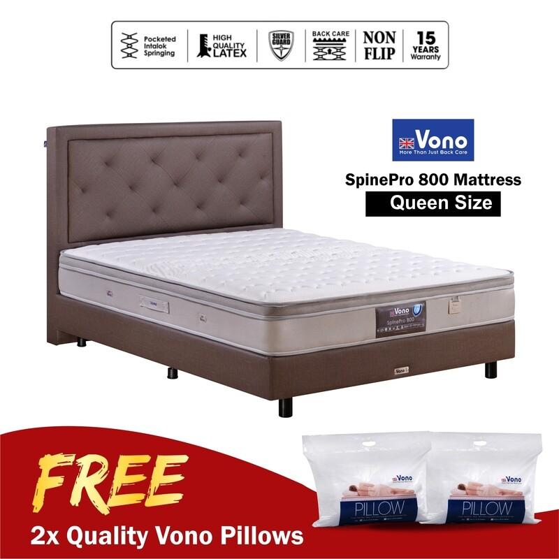 [FREE VONO PILLOWS] VONO   10 inch Mattress Spine Pro Collection (Spine Pro 800) - Queen