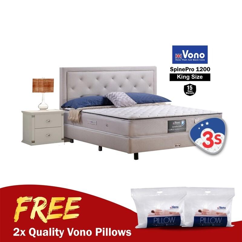 [FREE VONO PILLOWS 2 UNIT] Vono 11inch Mattress Spine Pro Collection (Spine Pro 1200) - King