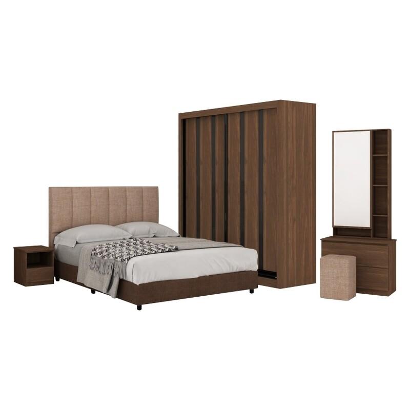 Bedroom Set with 5' wardrobe and queen size divan