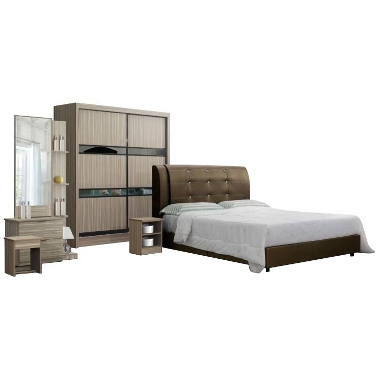 Bedroom Set (5ft x 7ft Sliding Wardrobe + Queen size Bed frame + Dressing Table + Stool)