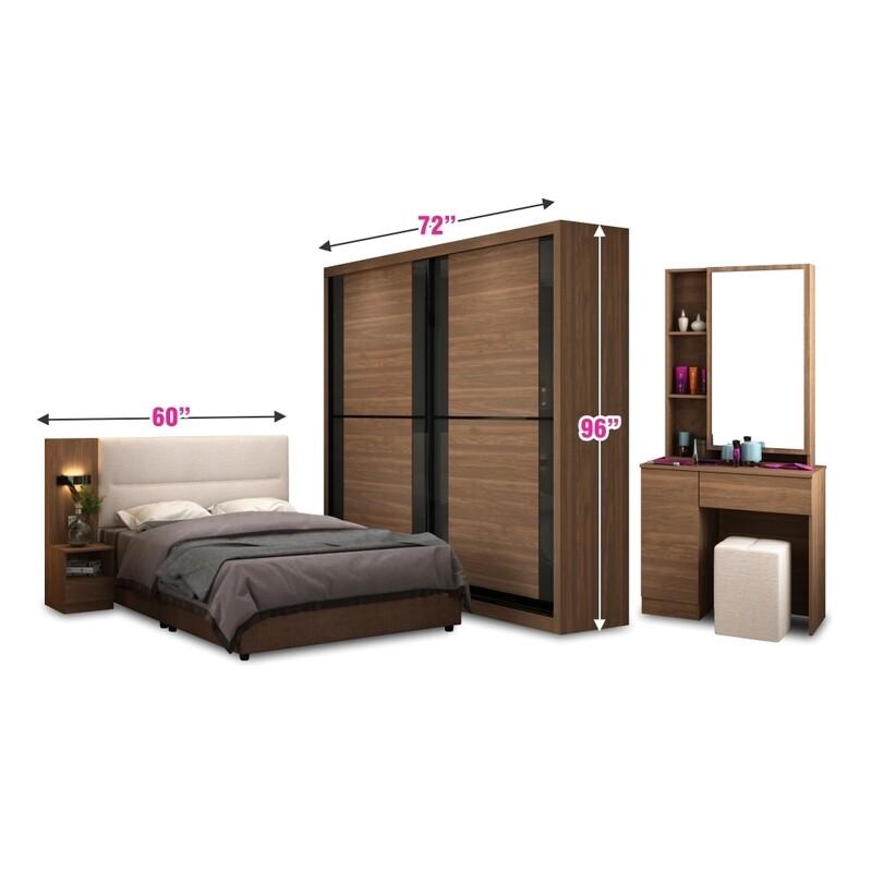 Bedroom Set (6ft Sliding Wardrobe + Queen size Bed frame + Dressing Table + Stool)
