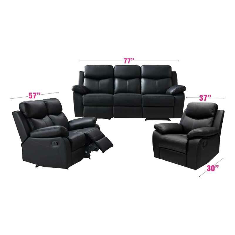 1+2+3 Full Recliner Black PU Sofa Set