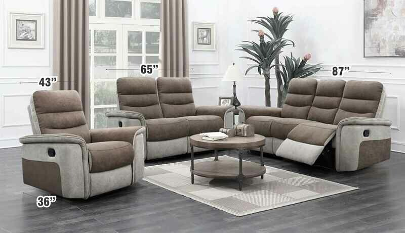 Recliner and 2+3 Seater Fabric Sofa Set