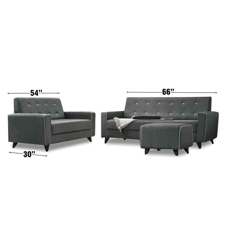 2 + 3 Seater Fabric Sofa Set and stool