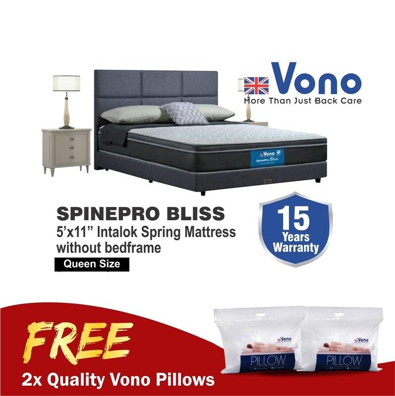 [FREE 2 VONO PILLOWS] Vono 11inch SpinePro Bliss Spring Mattress - Queen