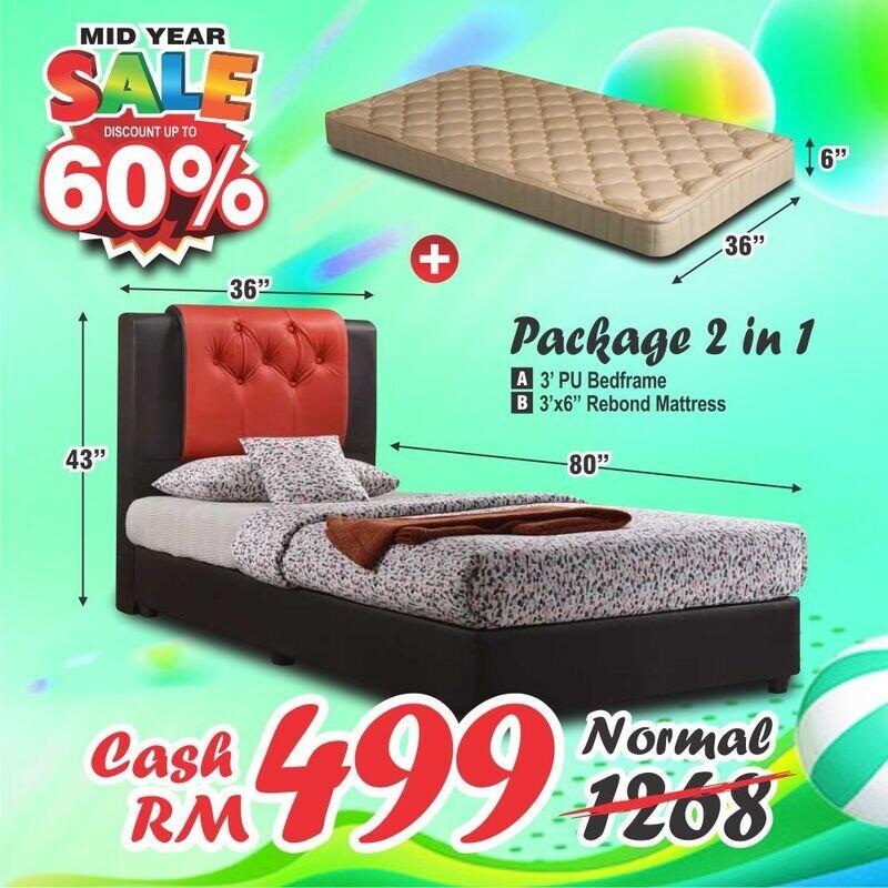 [PACKAGE 2 IN 1] 3ft PVC Single Divan Bed + 6inch Single Rebond Mattress
