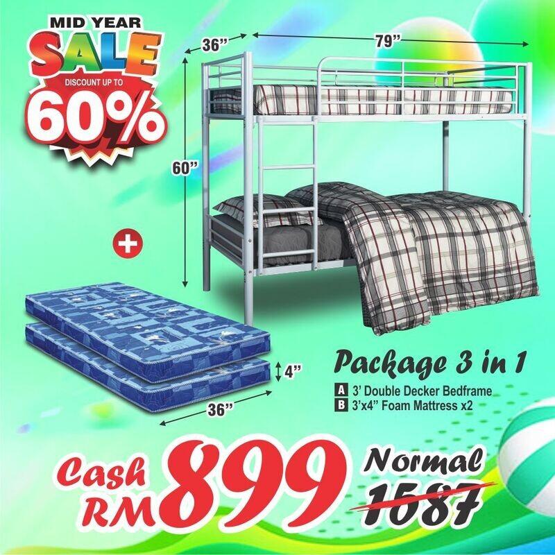 [PACKAGE 3 IN 1] Double Decker bed - Single Size + 2 unit Foam Mattress