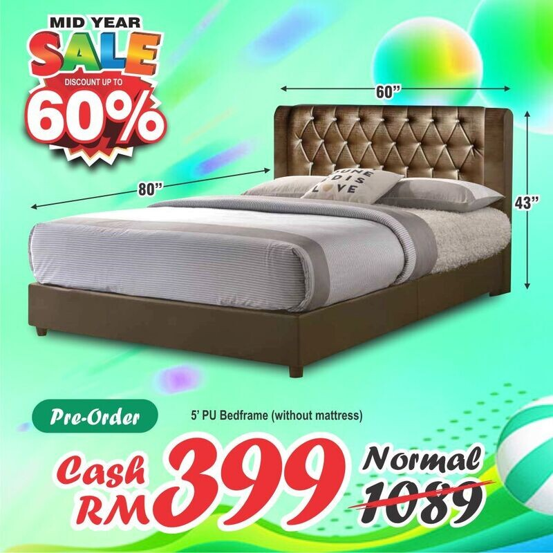 [PRE-ORDER] 5ft PU Queen Size Bed Frame (Brown)