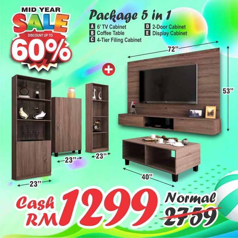 Living Package (6ft High TV Cabinet + Coffee Table + Shoes Cabinet + 2 Display Cabinet)