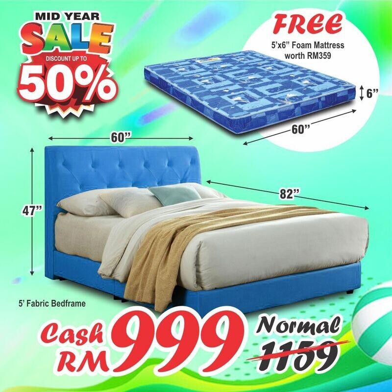 [FREE MATTRESS] Fabric Bedframe (without mattress) - Queen Size