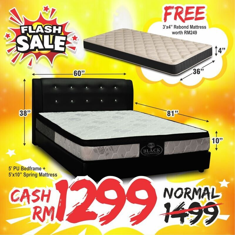 [EXTRA FREE 3FT MATTRESS] Full Bed Set (Nana Queen Size Bed Frame + 10inch Black Diamond Queen Size Spring Mattress)